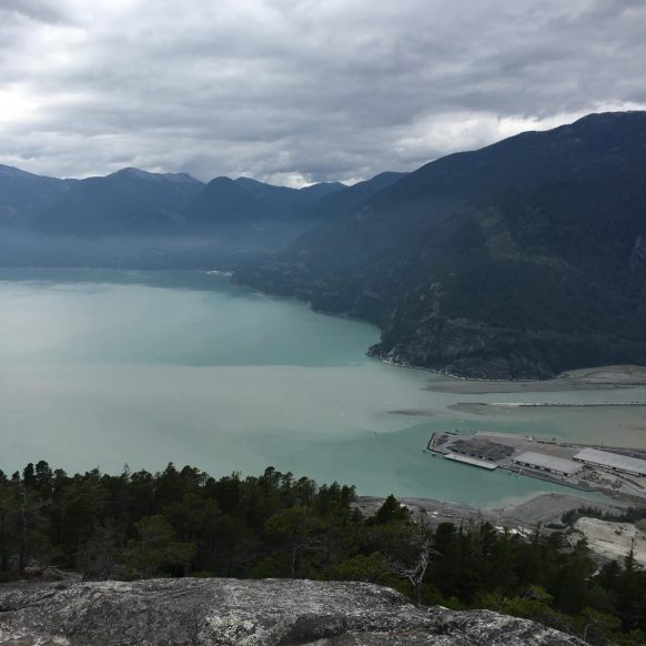 View from the top of Stawamus Chief hike in Squamish BC